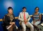Wright State students Eiman bin Ali Al Housani of the United Arab Emirates (left), Balasubramamarian Gunasekaran of India and Nelly Cherviyot of Kenya served on the panel for a campus session on international students.