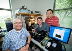 (L to R) Elliott Brown, Ohio Research Scholars Endowed Chair in Sensors Physics, and researchers Leamon Viveros and Weidong Zhang are developing virus-detection technology.