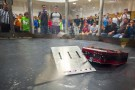 Two robots battling during the Xtreme BOTS Competition.