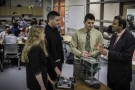 Wright State University Provost S. Narayanan (far right) meets with students at the Dayton Regional STEM School.