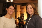 (left) C-SPAN video journalist and producer Christy Hinton and Dawne Dewey, head of Archives and Special Collections with the Wright State University Libraries.