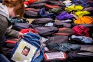 Many of the Send Silence Packing backpacks were dressed with photos, beads and personal messages.
