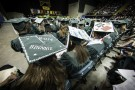 Colorfully decorated mortarboards could be found throughout the Nutter Center Arena.