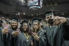 Selfies were popular with graduates.