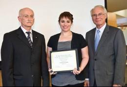 Joe Law, Rebecca Wynn and Wright State President David R. Hopkins
