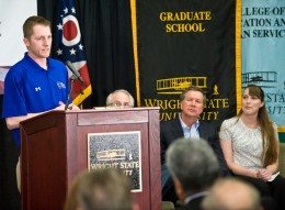 Tyler Thompson speaking at Wright State