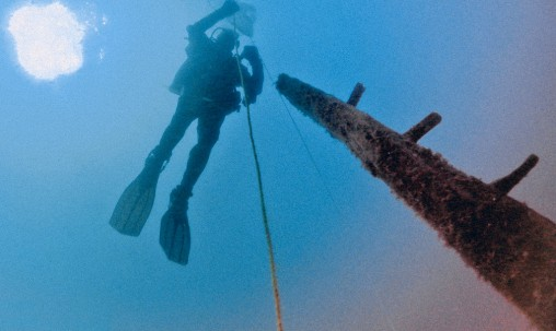 Underwater diver in Lake Michigan
