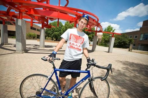 Ian Kallay with his bicyle