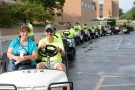 110 golf carts were lined up and ready first thing in the morning.