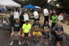 Front row, from left: Gary Dickstein, assistant vice president for student affairs; Robert Sweeney, executive vice president for planning and secretary to the Board of Trustees; Dan Abrahamowicz, vice president for student affairs; Barbara Bullock, assistant vice president, Institutional Research; and Kristin Sobolik, College of Liberal Arts dean, took the ALS ice bucket challenge during Move-In Day. Wright State President David R. Hopkins (back left) and Provost S. Narayanan (back right) helped dump ice water.