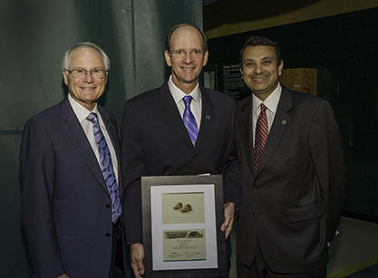 Wright State President David R. Hopkins, State Sen. Chris Widener and Provost S. Narayanan