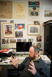 Art professor Jeremy Long in his office