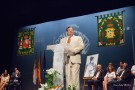 "Julian G. Cambronero, Ph.D. speaking in his birth town of Manzanares, Spain after receiving the ""Hijo Predilecto de la Ciudad"" award."