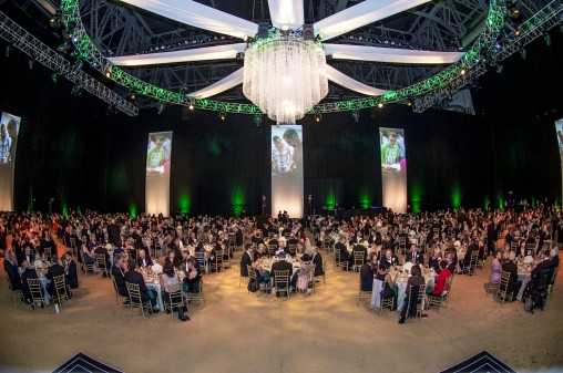 Center court at the Nutter Center was transformed for the gala into a grand dining room that stunned  guests as they entered the space.