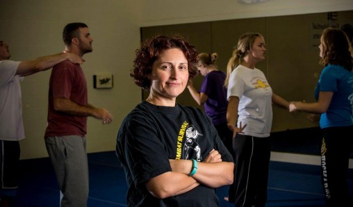 Giovanna Follo and her martial arts class
