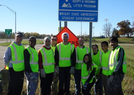 Student Government members on side of highway