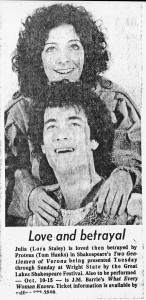 News clipping of Tom Hanks from 1978