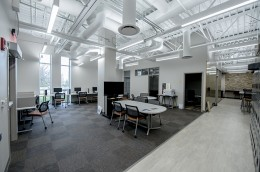 The 1,800 square foot student center features a space for both collaborative and independent study.
