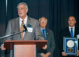 HORAN President and CEO Terence Horan, Wright State University President David R. Hopkins and Horan Vice President Erik Freudenberg