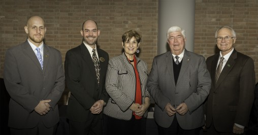 L-R Mitch Heaton, director of development with the College of Engineering and Computer Science; Nathan Klingbeil, dean of the College of Engineering and Computer Science; Becky Cole, vice president for advancement and president of the Wright State University Foundation; Ron Bullock, chairman of Bison Gear & Engineering Corporation; and Wright State President David R. Hopkins pose for a picture after the gift signing.