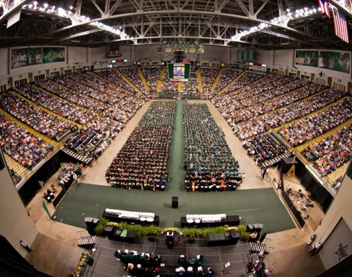 Of the 1,178 students who applied for degrees, 725 are receiving their bachelor's, 421 their master's and 15 their Ph.Ds.