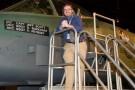 Jason Deibel next to an A-10 Thunderbolt jet