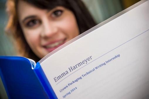 Emma Harmeyer with manuscript