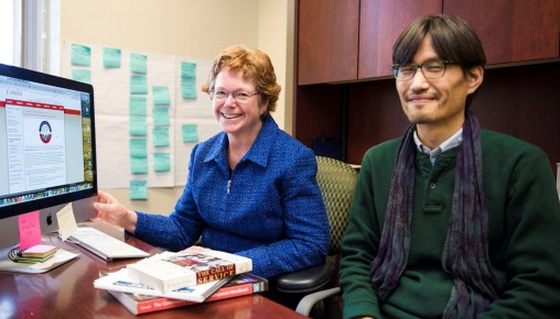 Marjorie McLellan and Hee-Young Shin in office