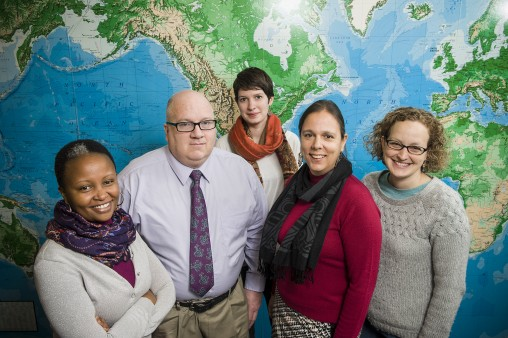 Representatives of the new Wright State Passport Center: (L-R) Joy Wanderi, associate director; David Evans, administrative support coordinator; Monica Ratcliff, education abroad programs advisor; Michelle Streeter-Ferrari, UCIE director; and Megan Trickler, education abroad coordinator.