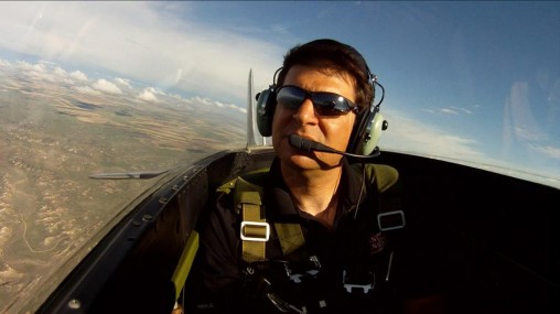 Adam White filming onboard a P-51 Mustang
