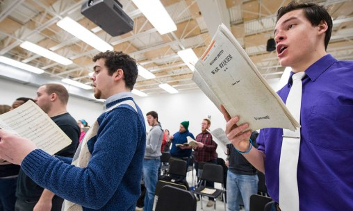 chorale students rehearsing