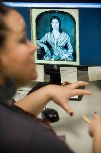 Natasha McPherson at computer