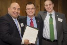 (L-R) Ohio House Speaker Cliff Rosenberger received the resolution from President of Student Government Kyle Powell and Rob Yada, student government associate of governmental affairs.