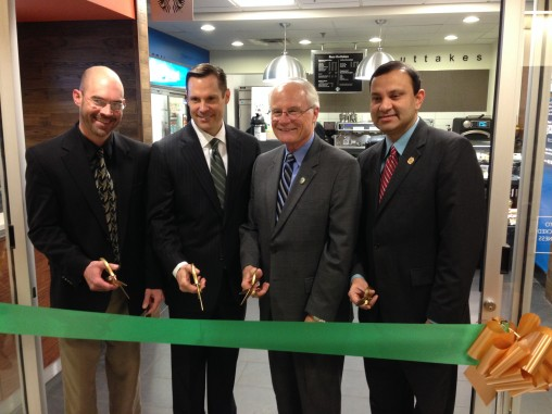 (L-R) Nathan Klingbeil, dean of the College of Engineering, Ron Lamp, president of Reynolds and Reynolds, Wright State University President David R. Hopkins and Wright State Provost S. Narayanan cut the ribbon at the opening of the new