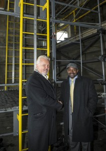 James Clark and Rufus Smith in front of scaffolding