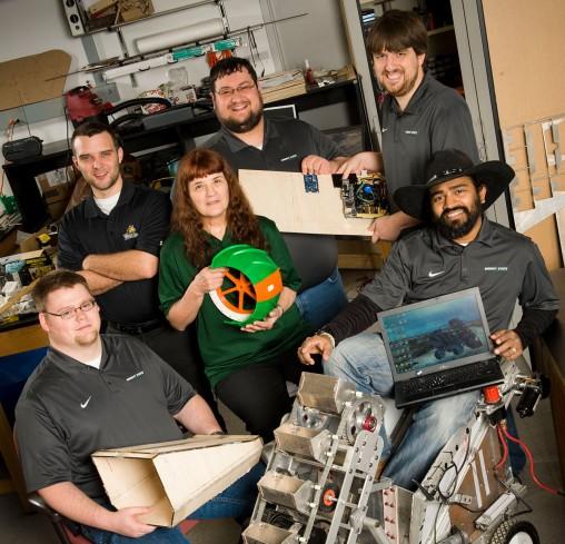 Wright State Robotics team in lab