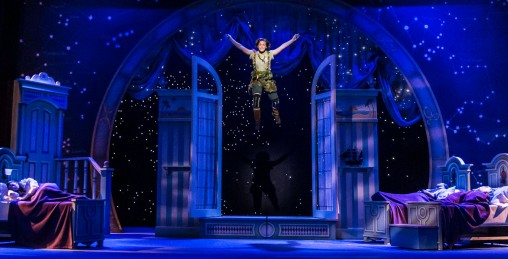 Peter Pan flying above stage