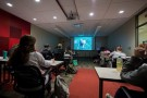 Students watching zombie film
