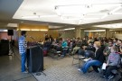 The poetry, which was read April 3 in the atrium of Millett Hall, drew a crowd of about 75.