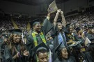 Students cheer at commencement