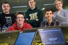 From left: Mike Alfaro, Kyle Ahearn, Darin McCarren, Alison Guyton and Josh Harris are among the computer science and computer engineering students who will participate in the Make-It-Wright hackathon on April 11 and 12.