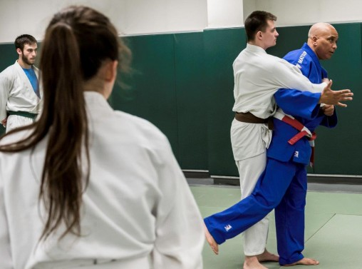 Practicing judo in class