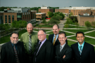 (L-R) Steve Hayward, business intelligence analyst; Craig Woolley, chief information officer; Roy Lemaster, program analyst; Aaron Skira, senior institutional research analyst; Mark Polatajko, vice president for business and finance/CFO and Sasanska Prabhala, executive director for strategic information and business intelligence constituted the core team that built the Wright State business intelligence solution.
