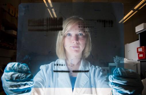 Elizabeth Harris holding an X-ray