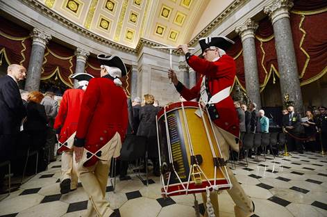 Jeff Brooks playing snare drum in the Capitol Building