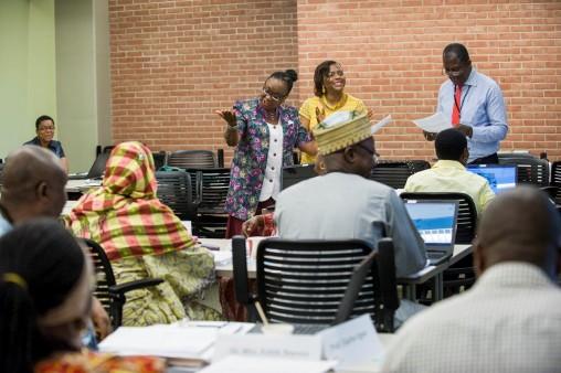 Educators from Nigeria  talking in workshop