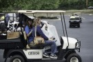 Golf cart carrying belongings
