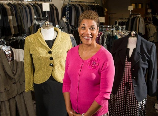 Paula Cosby with outfits from Clothes That Work
