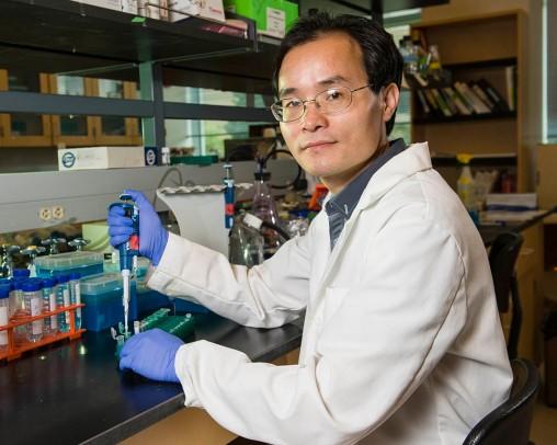 Weiwen Long in his lab