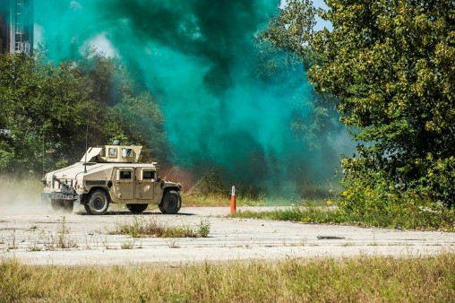 Humvees in battle zone